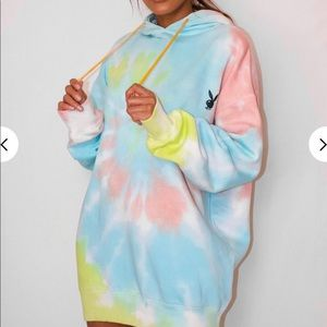 🔄 Playboy Pastel Tie Dye Oversized Hoodie Dress